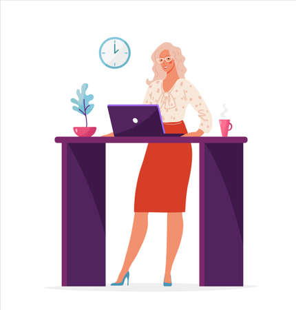 Cute woman in the office works at the table with a computer. Female cartoon character for business, female career, work staff. Flat vector illustration isolated on white background