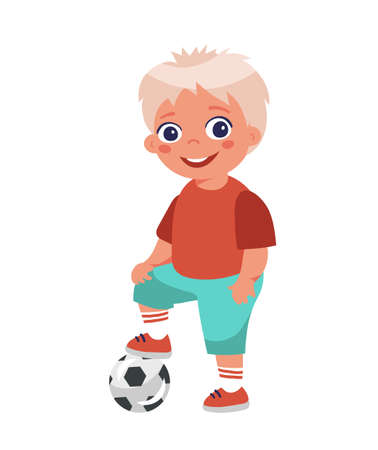 Boy soccer player posing put his foot on the ball. Cartoon character isolated on white background. Young soccer player in shorts. Flat design
