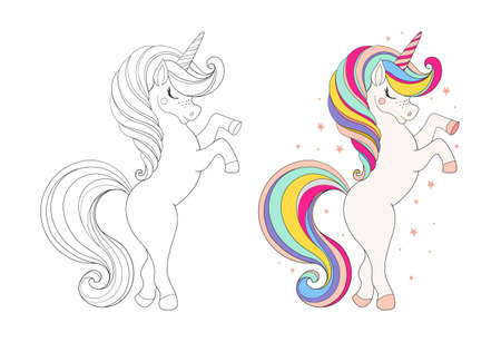 Set of cute unicorns. Colored cartoon character and drawing for coloring. Cartoon vector illustration. Educational game for children