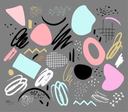 A set of elements for design, scrapbooking, decoration. Lines, shapes, points, circles. Free hand design. Modern memphis style. Isolated vector illustration. Contemporary art pattern