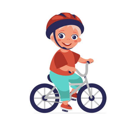 The boy is riding a bicycle. Safe riding, helmet use, sports and hobbies, healthy lifestyle. Cartoon vector character isolated on white background Illusztráció
