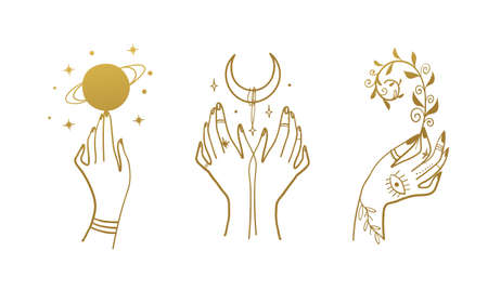 Mystical line drawings for boho design, tattoo, gold foil. Hands with a planet, a crescent, a plant. Vector sketch isolated on white background