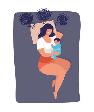 Concept illustration about postpartum depression, worry, and anxiety of a young mom. The woman sleeps with the child on the bed and cries. Vector illustration isolated on white background