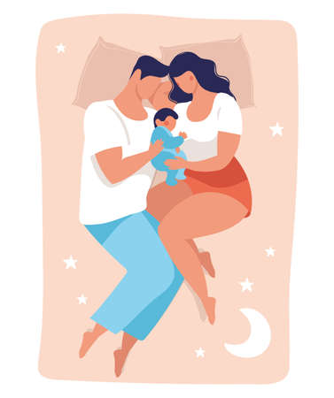 A young family sleeps with a child. Daddy and mommy are sleeping on the bed hugging the baby. Flat vector illustration isolated on white background