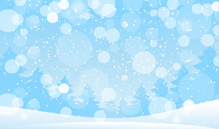 Magic snowfall in the forest. Modern background for New Year and Christmas. Vector illustration in cartoon design. Winter landscape with snow and snowflakes