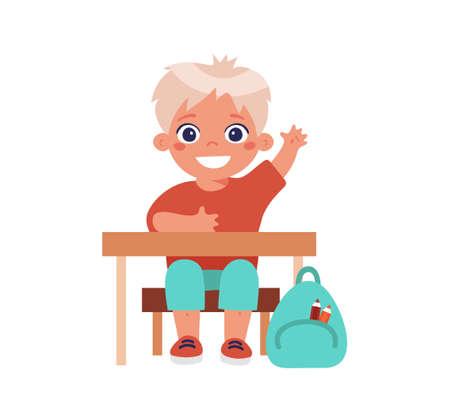 Happy little boy sitting at a desk at a lesson. Cartoon character for school, kindergarten, children development design. Flat vector illustration isolated on white background Illusztráció
