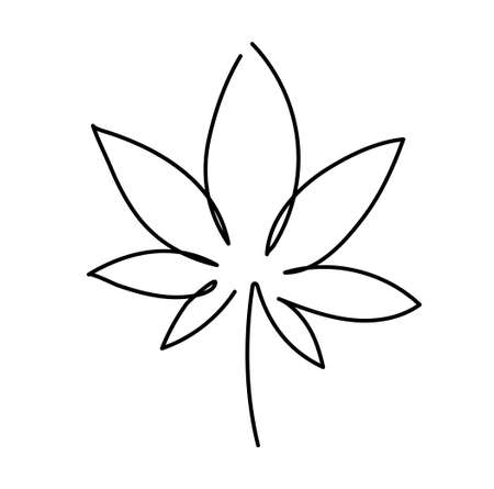 Cannabis leaf icon. Graphic line drawing of marijuana,  symbol. Vector illustration. Beautiful minimalistic hand drawing of a plant Illusztráció