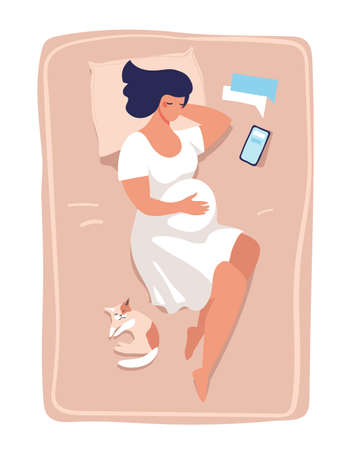 A young pregnant woman lies and sleeps on the bed. Illustration about pregnancy and childbirth, health and relaxation. Flat vector illustration isolated on white background