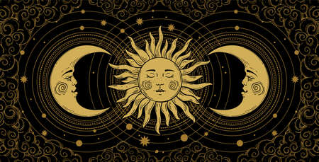 Mystical banner for astrology, tarot, boho design. Universe art, golden crescent and sun on a black background with clouds. Esoteric vector illustration, engraving