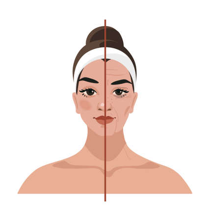 Portrait of a young woman and age-related changes on her face. Before and after cosmetic procedures, injections, plastic surgery. Flat vector illustration