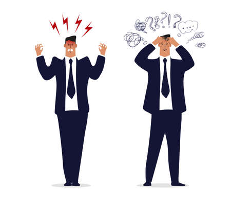 Angry businessman, a man in a suit and tie is upset or furious. Concept of a burnout office worker, problems at work. A businessman with a headache, a man in stress from work and problems. Flat vector illustration isolated on white background