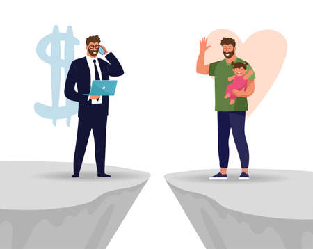 A man chooses between family and work. The problem of male priorities between career and family, business or health. Flat vector illustration Illusztráció
