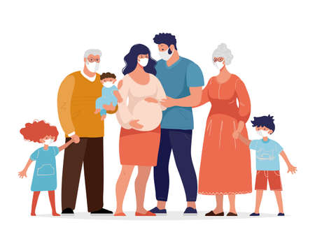 The family uses medical masks to protect against the coronavirus. Pregnant woman with her husband, children, grandparents against the spread of coronavirus. Flat cartoon vector illustration