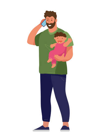 A man works from home at the computer, holds the child, calls on the phone. The concept of freelance, remote work, family and work. Flat cartoon vector illustration Illusztráció