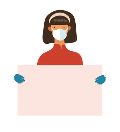 A woman in a medical mask and gloves holds a poster with place for text. Template for design, coronavirus epidemic, concept illustration, health protection. Flat vector illustration