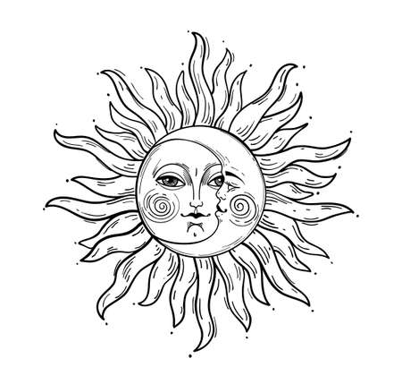 Bohemian hand drawing, esoteric sketch, engraving stylization. Sun and crescent moon with a face. Design for tattoo, astrology, sticker, tarot. Vector illustration isolated on white background Illusztráció