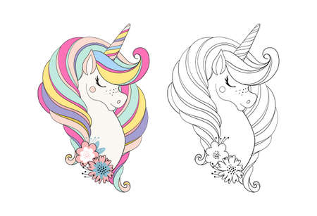 Unicorn head with flower. Beautiful portrait of a magic horse for design, postcard, invitation, children s party. Colorfull color vector illustration isolated on white background Illusztráció