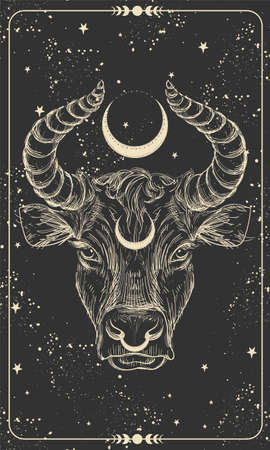 Happy New Year 2021 of the Ox, Ox-Taurus. Linear drawing on a black background, tarot, tattoo, chinese horoscope, astrology and zodiac signs. Vector illustration for poster, cover, calendar, logo Illusztráció