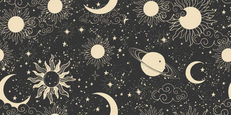 Seamless black space pattern with sun, crescent and stars on a blue background. Mystical ornament of the night sky for wallpaper, fabric, astrology, fortune telling. Vector illustration