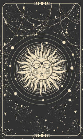 Mystical drawing of the sun with a face, tarot cards, boho illustration, magic card. Golden sun with closed eyes on a black background with stars. Vector hand drawing Illusztráció