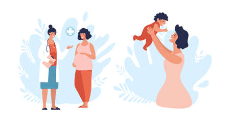 A set of illustrations about pregnancy and motherhood. Pregnant woman at a doctor s appointment, a woman plays with a newborn baby. Cartoon flat vector illustration isolated on white background