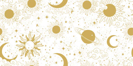Seamless golden space pattern with sun, crescent, planets and stars on a white background. Mystical ornament of the mystical sky for wallpaper, fabric, astrology, fortune telling. Vector illustration