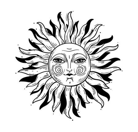 Vintage style illustration, sun with a face, stylized drawing, engraving. Mystical element for design in boho style, logo, tattoo. Vector illustration isolated on white Logo