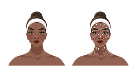 Instructions for face and neck massage, face building, lifting and lymphatic drainage, anti-aging beauty care for women. Scheme of massage lines. Cartoon vector illustration isolated on white background