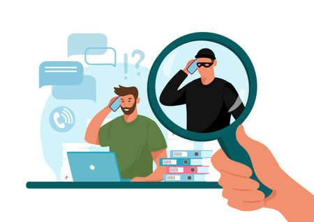 Online crime concept illustration, online social media fraud. A swindler and a thief are working at the computer. Vector flat illustration isolated on white background Illusztráció