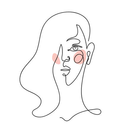 Abstract linear female portrait. Modern hand drawing, female face, continuous line, minimalistic design for  print, design. Vector illustration