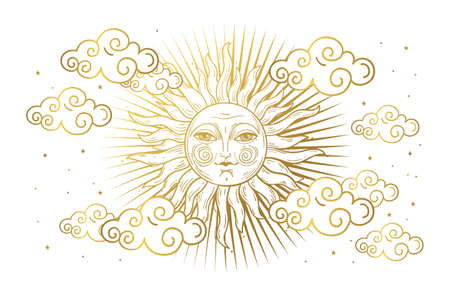 Magic banner for astrology, tarot, boho design. Universe, golden sun with face and clouds on white isolated background. Esoteric vector illustration, pattern Illusztráció