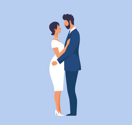 Groom in suit and bride in tight wedding dress, modern couple in love in elegant outfits. Vector illustration in flat style for design of invitation cards