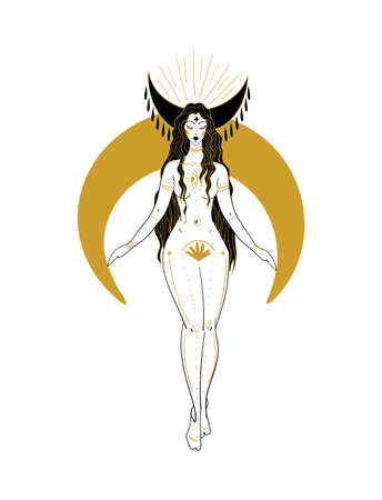 Beautiful woman with long hair and a crescent moon. Hand drawing for astrology in boho design, female tattoo, zodiac sign Virgo.