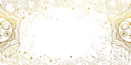 White magic background with sleeping golden sun with face, space decor with copy space and stars. Layout for astrology, tarot, banner for the witch.