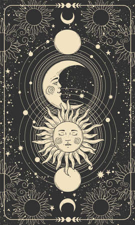Mystical drawing of sun with face, moon and crescent moon, background for tarot card, magic boho illustration. G
