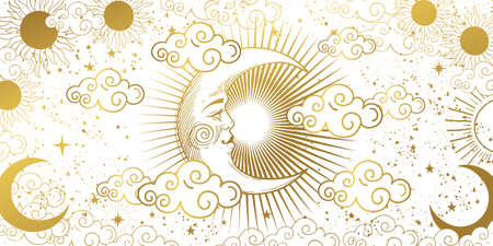 Heavenly card for astrology, tarot, boho design. Golden crescent moon in the sky with clouds, moon and sun on a white background. Esoteric vector illustration of witchcraft, pattern