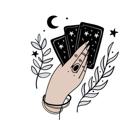 Female hand holds magic tarot cards, boho tattoo, symbol of fortune-telling and prediction, icon for witch, astrology. Vector illustration isolated on white background.