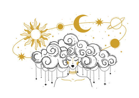 Mystical boho illustration. Woman with flying planets, sun and moon, concept of astrology, prediction, destiny. Meditating girl, soul rebirth or Chinese horoscope.
