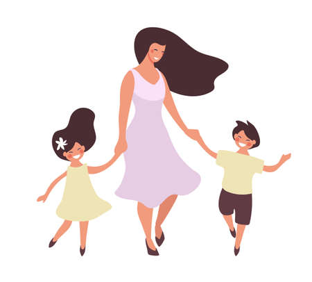 Happy woman walks with children. Mom dancing with her daughter and son, mother s day card, happy family. Flat vector illustration isolated on white background.