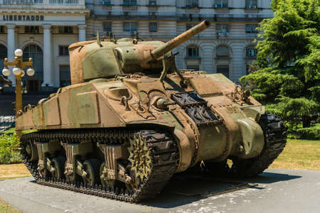 Buenos Aires, Argentina, Feb 01: Tank Sherman M4A4 in front the Libertador Building, headquarters of the Ministry of Defense of Argentina is a ministry of the national executive power on 1 February, 2016 in Buenos Aires, Argentina. Editorial
