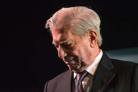 Buenos Aires, Argentina - May 6, 2016: Nobel Laureate in Literature Mario Vargas Llosa during the presentation of his book Cinco esquinas as part of Buenos Aires International Book Fair at La Rural on May 06, 2016 in Buenos Aires, Argentina. Editorial