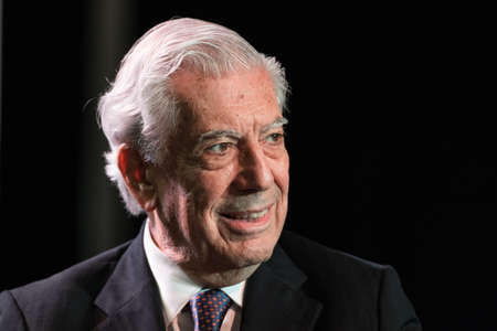essayist: Buenos Aires, Argentina - May 6, 2016: Nobel Laureate in Literature Mario Vargas Llosa during the presentation of his book Cinco esquinas as part of Buenos Aires International Book Fair at La Rural on May 06, 2016 in Buenos Aires, Argentina. Editorial