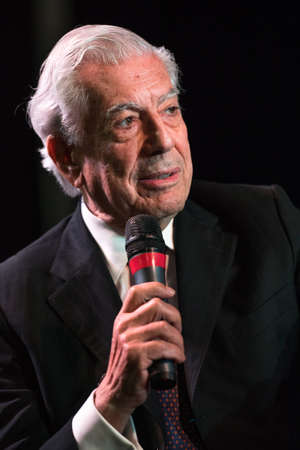 essayist: Buenos Aires, Argentina - May 6, 2016: Nobel Laureate in Literature Mario Vargas Llosa speaks during the presentation of his book Cinco esquinas as part of Buenos Aires International Book Fair at La Rural on May 06, 2016 in Buenos Aires, Argentina.