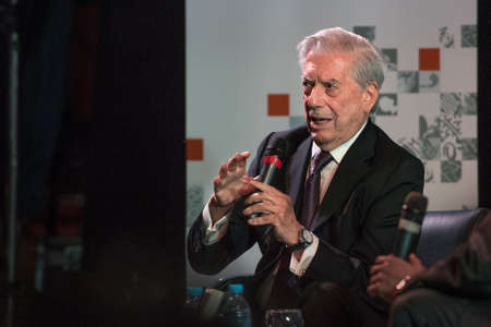 laureate: Buenos Aires, Argentina - May 6, 2016: Nobel Laureate in Literature Mario Vargas Llosa speaks during the presentation of his book Cinco esquinas as part of Buenos Aires International Book Fair at La Rural on May 06, 2016 in Buenos Aires, Argentina.