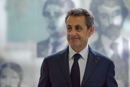 clandestine: Buenos Aires, Argentina - May 6, 2016: Former French president and head of Frances Les Republicains party Nicolas Sarkozy during a visit to the former clandestine detention center of the Navy School.