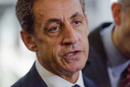 Buenos Aires, Argentina - May 6, 2016: Former French president and head of Frances Les Republicains party Nicolas Sarkozy during a visit to the former clandestine detention center of the Navy School.