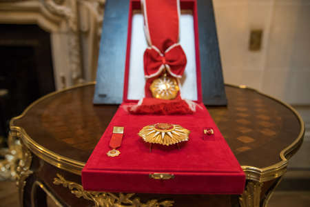 Buenos Aires, Argentina - October 21, 2015: The Order of May at the ceremony for opening an exhibition dedicated to the 130th anniversary of diplomatic relations between Russia and Argentina. Editorial