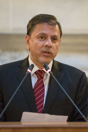 diplomatic: Buenos Aires, Argentina - October 21, 2015: Eduardo Zuain during the ceremony for opening an exhibition dedicated to the 130th anniversary of diplomatic relations between Russia and Argentina.