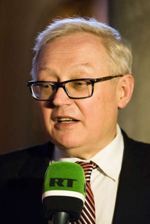 diplomatic: Buenos Aires, Argentina - October 21, 2015: Sergei Ryabkov during the ceremony for opening an exhibition dedicated to the 130th anniversary of diplomatic relations between Russia and Argentina. Editorial