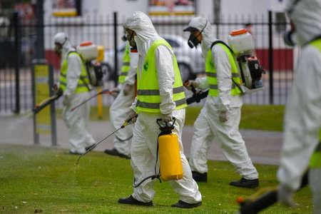fumigador: Buenos Aires, Argentina - 3 marzo 2016: Los empleados del Ministerio de Ambiente y Espacio P�blico para la fumigaci�n de mosquitos Aedes aegypti, para evitar la propagaci�n del virus de la fiebre del dengue y zika en el parque.